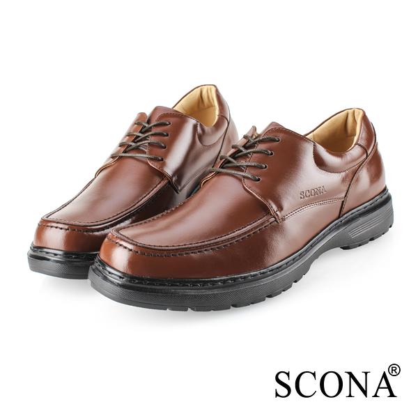 SCONA 蘇格南 全真皮 都會輕量綁帶商務鞋 咖啡色 0862-2