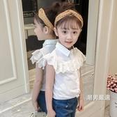 短袖襯衫女童襯衫短袖夏季中大童上衣洋氣女寶寶童裝2018新品夏裝兒童襯衣