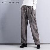 JII AMII冬裝原創復古棉麻休閒褲女寬鬆鬆緊腰亞麻寬管褲大碼長褲