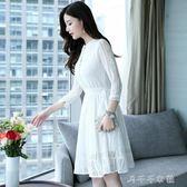 蕾絲洋裝女春季新款修身顯瘦學院風中長款洋裝中秋節搶購