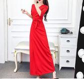 長洋裝 女夏季新款韓版氣質V領修身收腰顯瘦開叉 LR1443【野之旅】