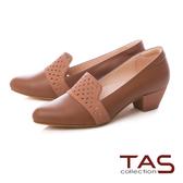 TAS 幾何沖孔素面拼接樂福粗跟鞋焦糖棕