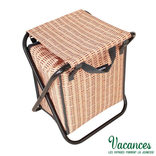 【日本 VACANCES】多功能 棕色 保溫保冷保鮮 手提 收納摺疊椅 / 露營 野餐