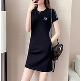 洋裝 2021新款夏裝大碼胖妹妹遮肚顯瘦中長款短袖女休閒運動減齡連身裙