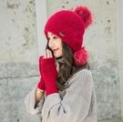 毛線針織帽 冬天加絨保暖護耳針織毛球兔毛...