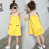 韓版女童夏裝吊帶裙純棉中大兒童洋裝沙灘裙女寶寶睡裙
