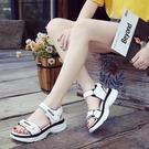 潮女涼鞋 2021新款運動涼鞋女韓版時尚厚底學生百搭魔術貼女鞋子沙灘鞋【快速出貨八折鉅惠】