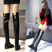 秋冬長靴女歐美新款側拉鍊皮靴粗跟平底過膝靴顯瘦長筒加絨高筒靴