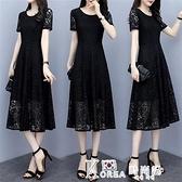 蕾絲洋裝-蕾絲洋裝寬鬆遮肚減齡顯瘦夏裝新款大碼女裝胖mm200斤氣質長裙