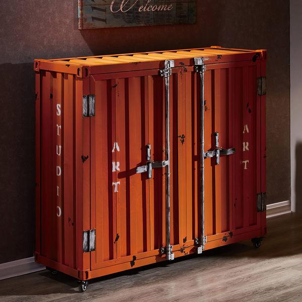 【森可家居】庫克4尺造型收納櫃 7JF401-1 LOFT復古美式工業風 貨櫃鐵櫃 廚房餐櫃
