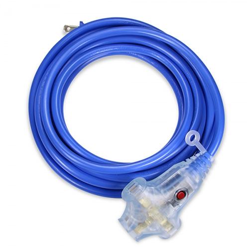 Powersync 群加 TU3W6100 10M 2P 工業用1對3插帶燈延長線(藍色)