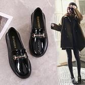 小皮鞋女2020春季新款英倫風女鞋單鞋韓版百搭粗跟黑色平底樂福鞋