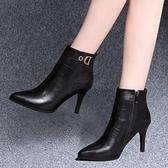 尖頭小短靴女細跟冬季2019新款韓版高跟鞋裸靴百搭黑色加絨馬丁靴  喵小姐