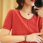 新款夏裝純棉麻V領針織短袖女T恤寬鬆大碼中老年上衣休閒亞麻半袖 范思蓮恩