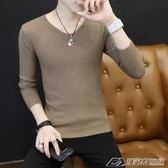 秋裝長袖T恤男韓版純色V領針織衫潮流秋衣上衣學生薄款毛衣打底衫  潮流前線
