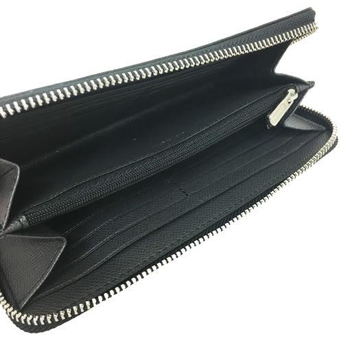 【COACH】經典立體金屬 LOGO 皮革ㄇ型拉鍊長夾(金屬銀灰)
