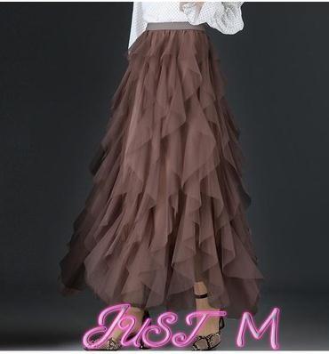 網紗半身裙春夏裙蛋糕網紗裙百摺半身裙長裙不規則女裙子中長款2021新款裙子 JUST M