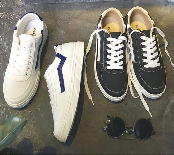 FINDSENSE MD 日系 流行時尚 潮 男 透氣 杠條 帆布鞋 學生板鞋