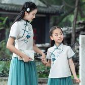 短袖裙裝 中國風改良旗袍繡花短袖上衣網紗裙母女親子裝幼兒園班服