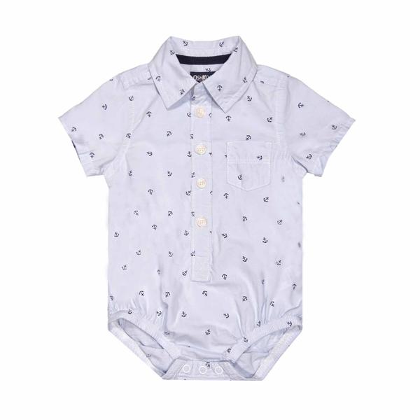 男寶寶短袖包屁衣 紳士西裝連身衣 藍船勾 | Oshkosh童裝 (嬰幼兒/baby/新生兒)