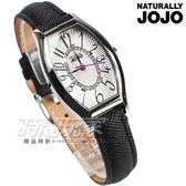NATURALLY JOJO 酒樽型 閃耀亮鑽 數字錶 真皮 女錶 防水錶 黑色 JO96903-88F