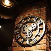 工業風復古齒輪掛鐘錶壁飾創意家居客廳牆面裝飾酒吧壁掛個性時鐘 歐韓時代