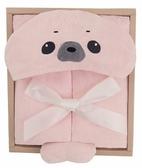 尼德斯Nydus 日本正版 嬰兒用品 浴巾 連帽浴巾 包巾 睡衣 睡袍 小海豹 海狗 粉紅色