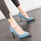 高跟鞋細跟新款金屬尖頭法式少女網紅小清新超高百搭工裝單鞋 凱斯盾