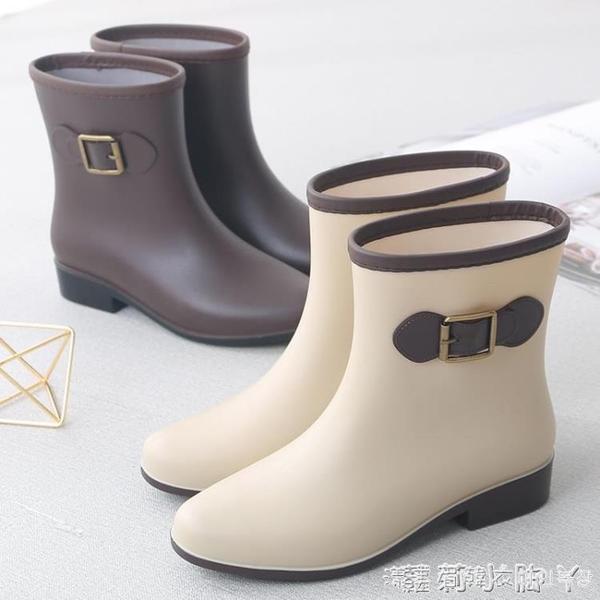 秋冬季雨鞋女中筒水鞋時尚短筒雨靴防滑平底塑膠加絨套鞋成人水靴 蘿莉新品