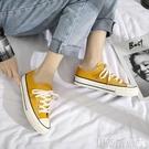 帆布鞋橄欖綠帆布鞋女夏季學生韓版百搭小臟橘港風超火黃色復古 交換禮物