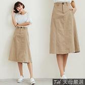 【天母嚴選】車線拼接雙圓釦高腰傘襬棉麻中長裙(共二色)