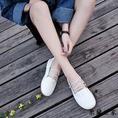 平底圓頭豆豆單鞋交叉綁帶奶奶鞋/米蘭世家