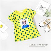 女孩相片撞色點點短袖上衣 黃色 俏皮 可愛 女童 上衣 短袖 T恤 短T 圓領 棉質 彈性 哎北比童裝