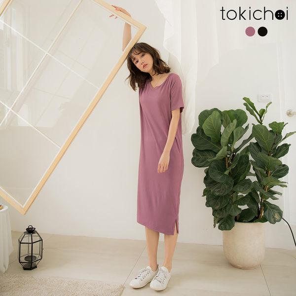 東京著衣-品牌嚴選親膚舒適V領棉質洋裝-S.M.L(190294)