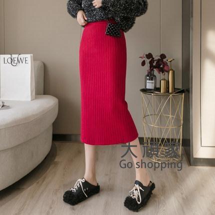 秋冬半身裙 針織半身裙秋冬女開叉毛線裙中長款黑色包臀裙秋冬季