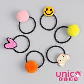UNICO 兒童 多色球球造型搭俏皮圖案髮圈-6入組