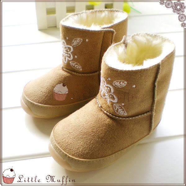 卡其刺繡毛絨絨超保暖雪靴 止滑膠底學步鞋 可外出