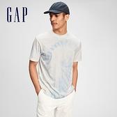 Gap男裝 街頭風紮染休閒短袖T恤 682879-淺藍紮染