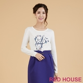【RED HOUSE 蕾赫斯】花朵裝飾針織衫(白色)