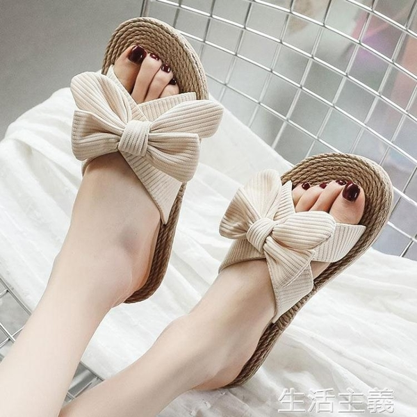 草編鞋 新款蝴蝶結網紅一字拖鞋女夏外穿時尚防滑涼拖鞋ins平跟涼鞋 生活主義