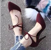 細跟高跟鞋 尖頭系帶單鞋 韓版側空涼鞋