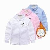 男童加絨襯衫長袖女寶寶加厚寸衣中大兒童秋冬保暖童裝學生