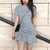 短袖洋裝 韓國休閒短袖連身裙荷葉邊修身褶皺包臀短裙緊身抽繩性感女夏氣質-Ballet朵朵