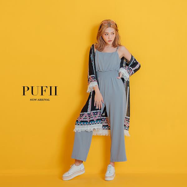 現貨 PUFII-連身褲 可調細肩顯瘦縮腰雪紡連身寬褲 4色-0614 夏【ZP14794】