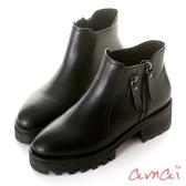 amai雙拉鍊裝飾厚底機車靴 黑