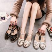 春夏新款鏤空復古透氣女鞋2019新款韓版粗跟女涼鞋中跟包頭女鞋子【快速出貨】