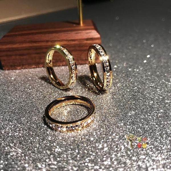 戒指 日韓版時尚滿鑽鍍18K玫瑰金鈦鋼單排鑽戒指男女食指環飾品不掉色 2色