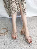 拖鞋涼鞋兩用女夏時尚透明一字交叉兩穿粗跟低跟百搭外穿 可可鞋櫃