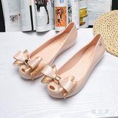 2018夏新款魚嘴涼鞋果凍鞋蝴蝶結平底鞋沙灘鞋女 BF4140【旅行者】