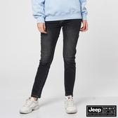 【JEEP】女裝刷色修身九分牛仔褲-黑